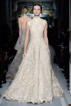 """""""Le jardin coeur secret"""" dress embroidered with raffia ribbon and crystals.  Shoes embroidered with raffia ribbon and crystals    http://www.valentino.com/en/collections/haute-couture/"""