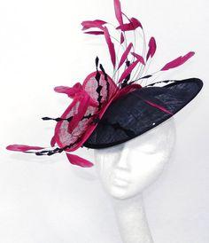 Fuchsia/Black Facinator Hat for Kentucky Derby by Hatsbycressida, $160.00