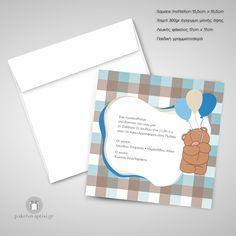 Προσκλητήριο Βάπτισης Αρκουδάκι με Μπαλόνια Invitations, Frame, Decor, Picture Frame, Decoration, Save The Date Invitations, Frames, Decorating, Hoop