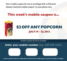 2 Dollars Off Any Popcorn at Regal this weekend!