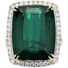 22.64 Carat Green Tourmaline Diamond Platinum Ring 1