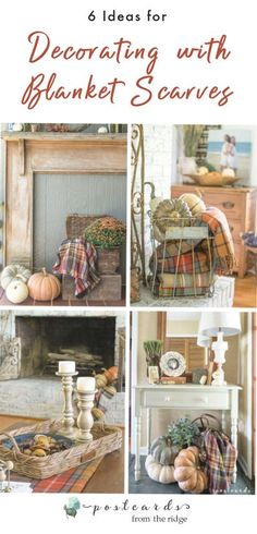 Love these beautiful scarves and blankets for fall. #falldecor #blanketscarves #autumndecor Thanksgiving Tablescapes, Thanksgiving Decorations, Holiday Decor, Halloween Buffet, Fall Halloween, Romantic Shabby Chic, Shabby Chic Cottage, Fall Crafts, Decor Crafts
