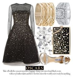 """""""RED CARPET AT THE OSCARS"""" by noraaaaaaaaa ❤ liked on Polyvore featuring Steve Madden, Oscar de la Renta, Rosantica and Karl Lagerfeld"""