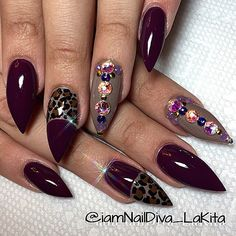 Deep plum with cheetah design stiletto nails
