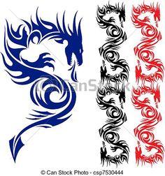 Vector - Asian tattoo dragon. - stock illustration, royalty free illustrations, stock clip art icon, stock clipart icons, logo, line art, EPS picture, pictures, graphic, graphics, drawing, drawings, vector image, artwork, EPS vector art