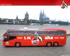 1. FC Köln Mannschaftsbus Bild als Ratekalender unter den Fragen die Antwort und ein Tip fürs Reiseziel