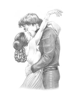 Star Wars! While watching Empire Strikes Back the other day, I had to draw Han and Leia. This is from an ESB screencap, where Leia and Han kiss on the Falcon. To be colored later. I'm thinking...