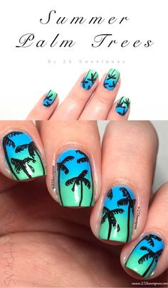 Every year I have to find the cool new summer nail art ideas to be in shape on vacation or on the beach. The big nail designs 2017 were polka dots, palm trees, pineapples, flowers (of course) or even Nail Designs 2017, Nail Art Designs, Nailart, Palm Tree Nail Art, Metallic Makeup, Art Simple, Watermelon Art, Coral, Nail Art Videos