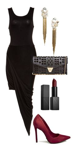 Holidays outfit - Drapped asymetric black dress, burgundi heels and matching accesories