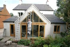 Adding a full width rear extension to a detached house in a Conservation Area, where the footprint of the extension exceeded Permitted development rights, but planner& allowed it under the condition that it was a sympathetic design. The project cost Glass Roof Extension, Porch Extension, Single Storey Extension, Cottage Extension, House Extension Design, Rear Extension, Extension Ideas, Extension Google, Bungalow Extensions