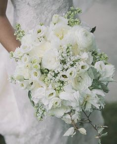 White and green bouquet by Jackson Durham.