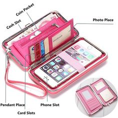 9435e1b465b69 Universal Women Umbrella 5.5 Inch Phone Wallet Case Purse For Iphone