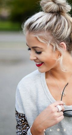 Chic Blonde Top Knot, Red Lipstick