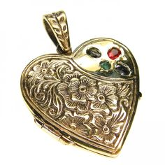 Evangelatos Small GP Silver Strawberry Heart Flower Locket. 18k Gold, Sterling Silver and Sapphires. This and more handmade Greek jewelry at Athena's Treasures: www.athenas-treasures.com
