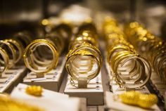 Gold bangles on display at a Chow Tai Fook store in Hong Kong. Photo: Bloomberg