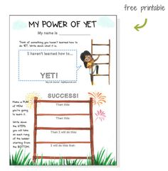 "The ""Power of YET"" free printable for kids by Big Life Journal."
