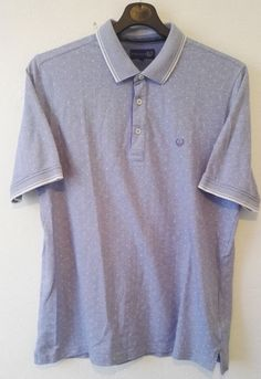 LINCOLN Mens Polo Neck T Shirt Light Blue Embroidered Logo Size L
