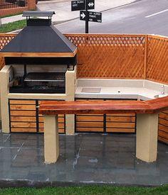 Construcciones REMS Outdoor Bbq Kitchen, Backyard Kitchen, Outdoor Kitchen Design, Outdoor Dining, Outdoor Decor, Parrilla Exterior, Outdoor Fireplace Designs, Backyard Pavilion, Model House Plan
