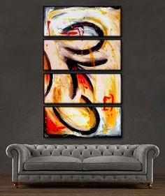 "'Beautiful Swirls' - 48"" X 30"" Original Abstract Art Painting"
