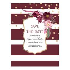 #savethedate #postcards - #Burgundy Flowers and Gold Confetti Save the Date Postcard