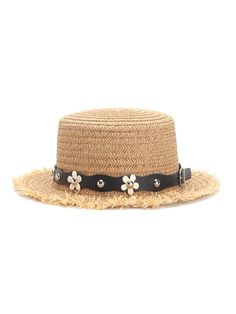 Flower Decorated PU Band Straw Hat For Women Summer Hat Hats Online 85abf171b66c