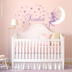 Fairy Wall Decal Baby Girl Room Nursery Sticker Personalized Name Wall Decor Stars Wall Decal Moon Wall Decal Fairy Wall Sticker Baby Girl Nursery Themes, Star Nursery, Fairy Nursery Theme, Nursery Wall Stickers, Vinyl Wall Decals, Name Wall Decor, Star Wall, Girl Room, Baby Girls