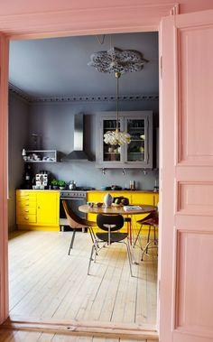 New Kitchen Decor Yellow Walls Grey 23 Ideas Deco Design, Küchen Design, House Design, Design Ideas, Design Color, New Kitchen, Kitchen Decor, Kitchen Yellow, Kitchen Ideas
