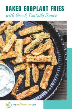 These simple baked eggplant fries are the perfect snack or appetizer for a crowd. Crispy on the outside, velvety tender on the inside! I love to serve these with a side of Greek Tzatziki sauce.
