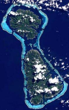 The reefs of Raiatea and Tahaa in the South Pacific; NASA/LiveScience