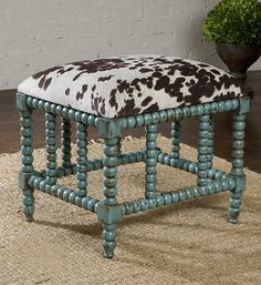Cowhide Bench, Cow Ottoman, Western Furniture, Tuscan Ottoman, Rustic Furniture. Uttermost 23605 Chahna, Small Bench. Tuscan Home Decor Retailer Since 1996. Free Shipping. Guaranteed Lowest Prices. BellaSoleil.com Tuscan Decor.