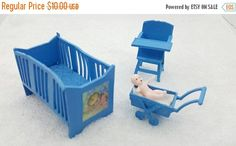 Canada 150 Celebrates Baby Nursery Crib High chair and buggy Miniature Doll House Toy Bedroom Child Nursery Blue
