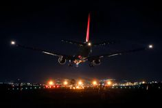 """Photograph Night Landing by Azul Obscura on 500px - Osaka International Airport - BTW, my work """"Night Landing"""" has been selected in The Top 10 Transportation Photos of 2014.  I'm so happy and thank you all."""