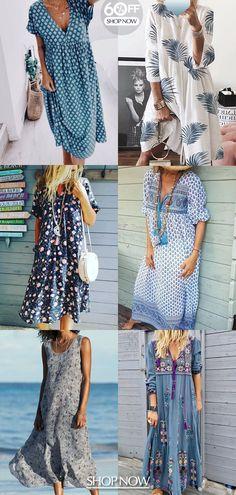 Outfit For Women - V Neck Geometric Short Sleeve Summer Dress Boho Fashion, Autumn Fashion, Girl Fashion, Fashion Outfits, Fashion Tips, Mode Outfits, Fall Outfits, Summer Outfits, Sewing Summer Dresses