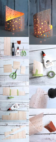 Do it yourself: DIY light play out of balsa wood DIY: Dani von Gingered . - Do it yourself: DIY light play out of balsa wood DIY: Dani from Gingered Things creates a light pla - Diy Candle Holders, Diy Candles, Wood Crafts, Diy And Crafts, Make Your Own, Make It Yourself, Ideias Diy, Diy Weihnachten, Diy Woodworking