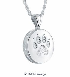 Dog Paw Sterling Silver Pet Cremation Jewelry Pendant Necklace