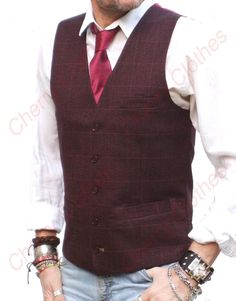From this season's collection, the style is a classic wine red/burgundy waistcoat in a rich textured finish with a stylish subtle check pattern running throughout. This style is Tailored Fit, so fits as though it was made especially for you! Grey Slim Fit Suit, Burgundy Vest, Men's Waistcoat, Vest Outfits, Vests, Tweed, Fashion Ideas, Outfit Ideas, Handle