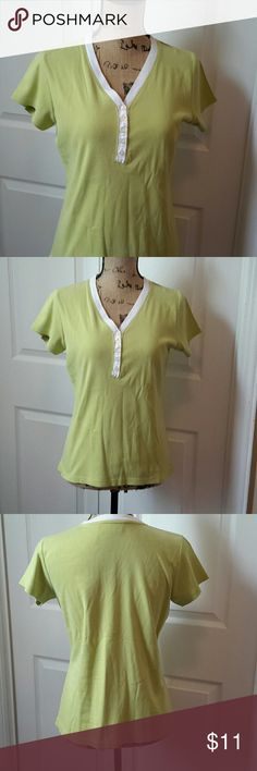 Kim Rogers Chartreuse Top Chartreuse top trimmed in white at neckline V-neck  5 buttons on front Normal wash wear Measurements in photos Kim Rogers Tops