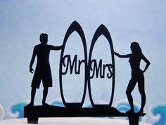 Surfer and mermaid wedding cake topper - mermaid surfer wedding cake topper - surfboard cake topper Surfer Wedding, Sports Wedding, Yacht Wedding, Nautical Wedding, Custom Cake Toppers, Wedding Cake Toppers, Wedding Cakes, Surfboard Cake, Couple Silhouette
