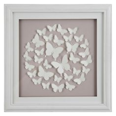 John Lewis Butterfly Framed Print, Pink, 40 x Laser-cut butterflies adorn this refreshing pink backdrop. This striking print is full of personality with a variety of multi-sized butterflies forming a circular pattern in the centre of this frame. Butterfly Pictures, Butterfly Frame, Butterfly Crafts, Box Frame Art, Box Frames, Box Art, Diy Crafts For Gifts, Hobbies And Crafts, Framed Art