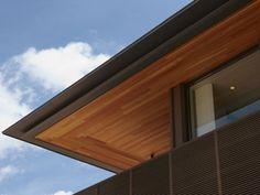 軒天 板張り Modern Exterior House Designs, Modern Architecture House, Modern House Design, Architecture Details, Roof Design, Facade Design, Ceiling Design, Albion House, Tuile