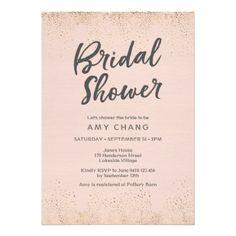 Blush Pink Bridal Shower Invitation - bridal shower gifts ideas wedding bride