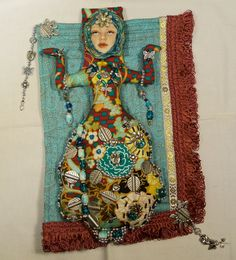 Ooak Priestess of Lemoria cloth art doll wall hanging 12in. by 8in. beaded Goddess