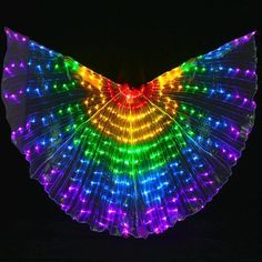 Quality Dance Accessories Stage Performance Props Women Dance Accessory DJ LED Dance Wings Light Up Wing Costume LED Dance Wings Rainbow Colors With Stick