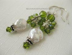 Lovely beaded Olivine Swarovski crystals White by BelhavenStudios