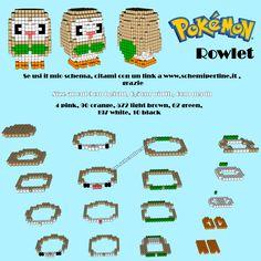 Rowlet da Pokemon Sole Luna schema gratis in con Hama Beads Pyssla 3d Pokemon, Pokemon Perler Beads, Pokemon Craft, Perler Bead Templates, Pearler Bead Patterns, Diy Perler Beads, Perler Bead Designs, Perler Bead Art, Perler Patterns