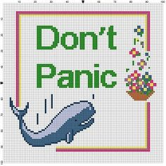 Don't Panic - Hitchhikers Guide to the Galaxy - Cross Stitch Pattern - Instant Download by SnarkyArtCompany on Etsy