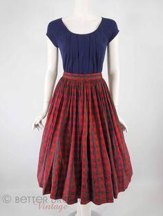 60s Full Skirt in Red Plaid Silk - med by Better Dresses Vintage