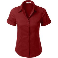 LE3NO Womens Short Sleeve Button Down Shirt ($19) ❤ liked on Polyvore featuring tops, button up shirts, short-sleeve shirt, red shirt, stretch shirt and cotton shirts