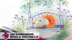 Ai Watercolor - Bench Swing & Cat