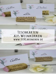 DIY Place cards made of wine corks make it easy with the Schneider Base rosé – ideal for the wedding - Catering display - Dekoration Diy Table Cards, Diy Place Cards, Diy Décoration, Easy Diy, Diy Crafts, Recycled Crafts, Decor Crafts, Wedding Catering, Wedding Events